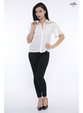 Soft white blouse decorated with a touch of elegant crisp lace