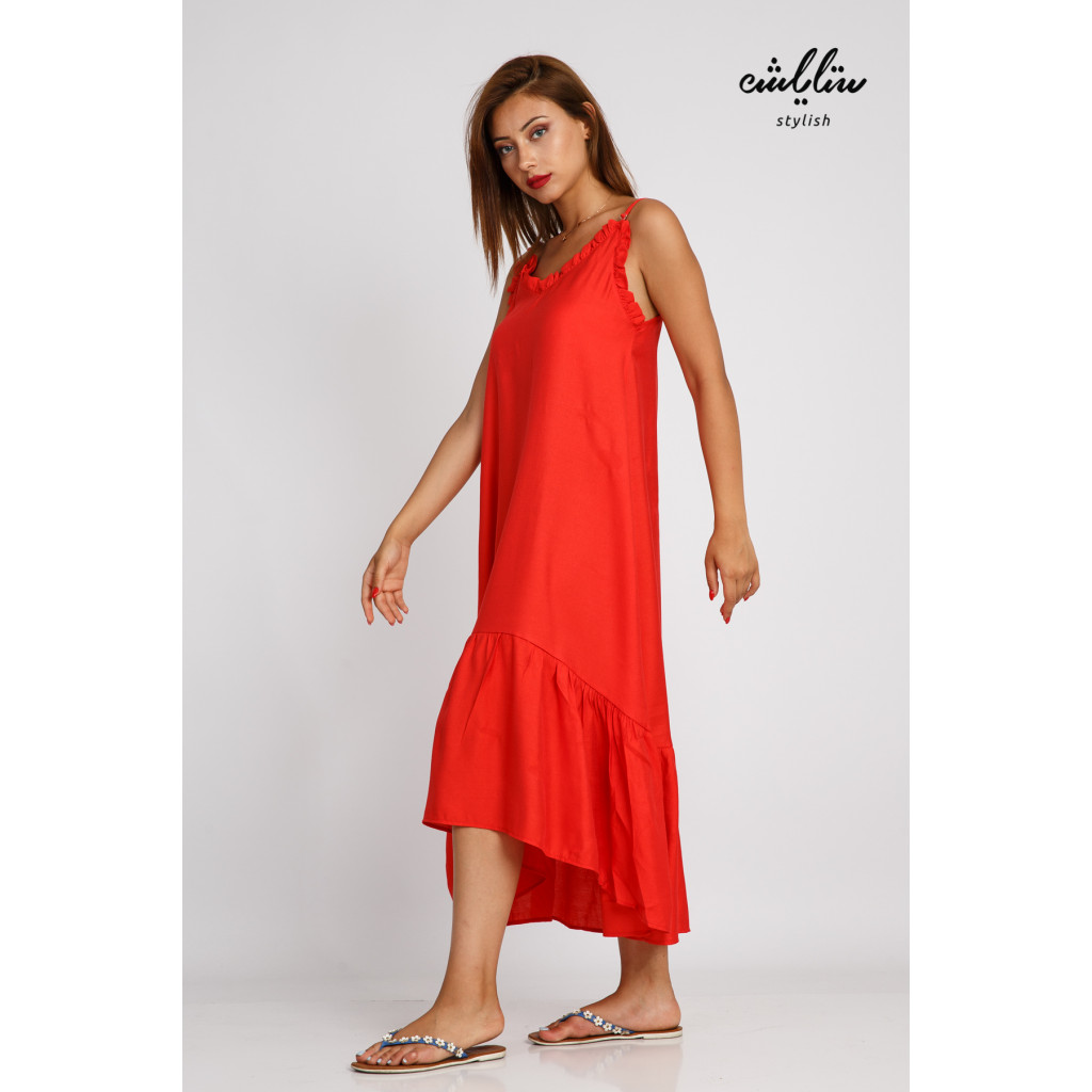 A soft orange relationship dress with slanted edges, modern and attractive