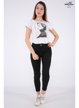 Trendy white T-shirt with soft print decorated with crystal
