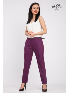 Stylish purple pants with a trendy design with a belt to give a great look