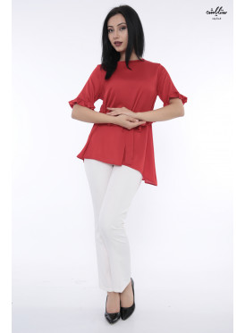 Elegant red blouse decorated with a beautiful view