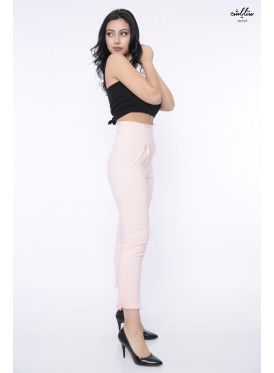 Hi West midi pink trousers with two crumbs down the waist crisp babe