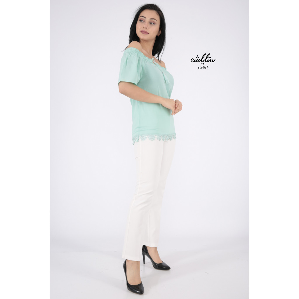 Chic off-the-shoulder blouse in light green decorated with lace