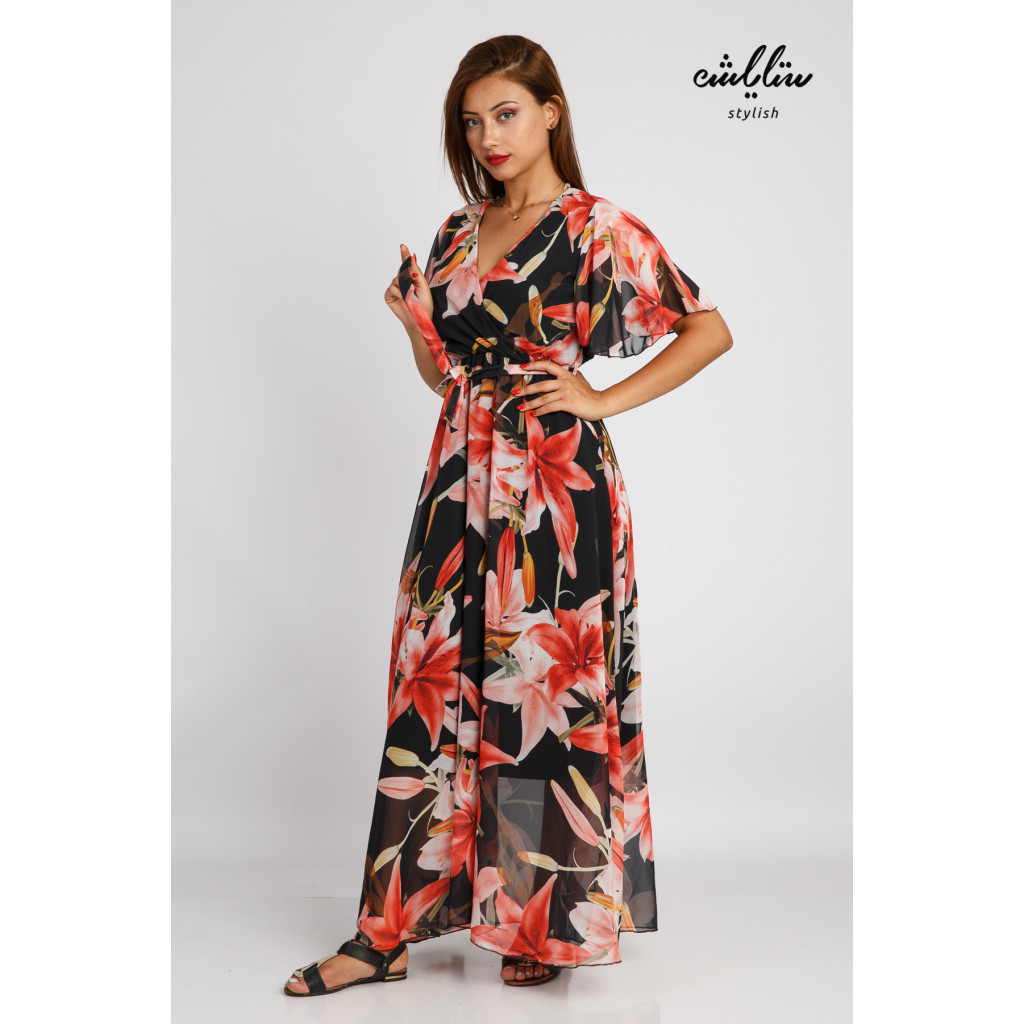 Black maxi dress decorated with beautiful, soft and elegant bushes