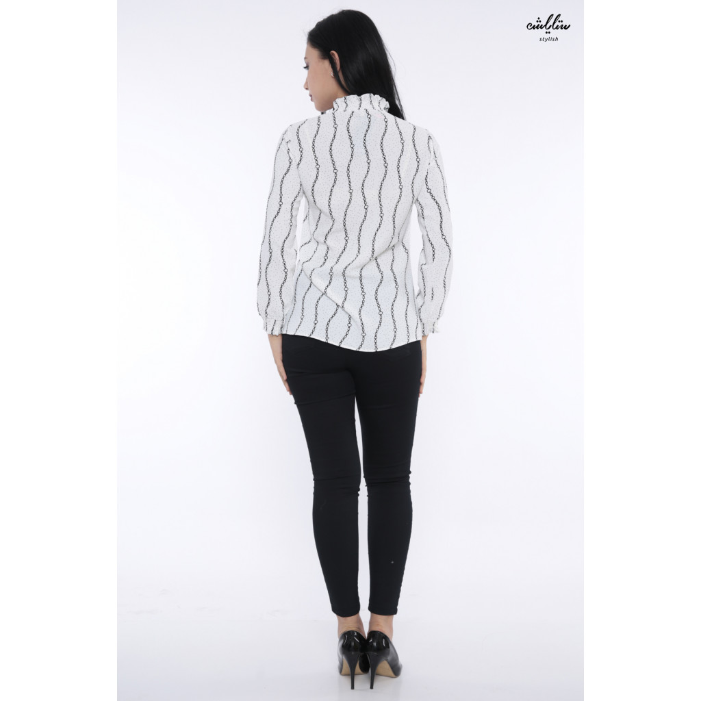 Soft white blouse with striped string design