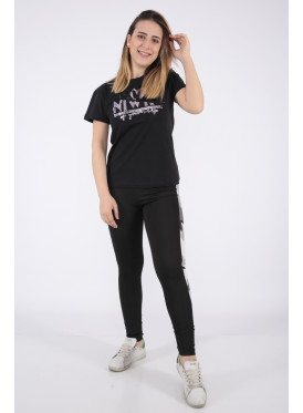 Elegant black T-shirt with sequin writing