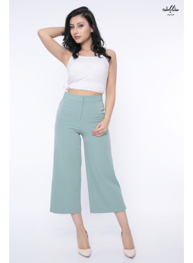 Hi West midi wide trousers in light green with open side buttons crisp attractive