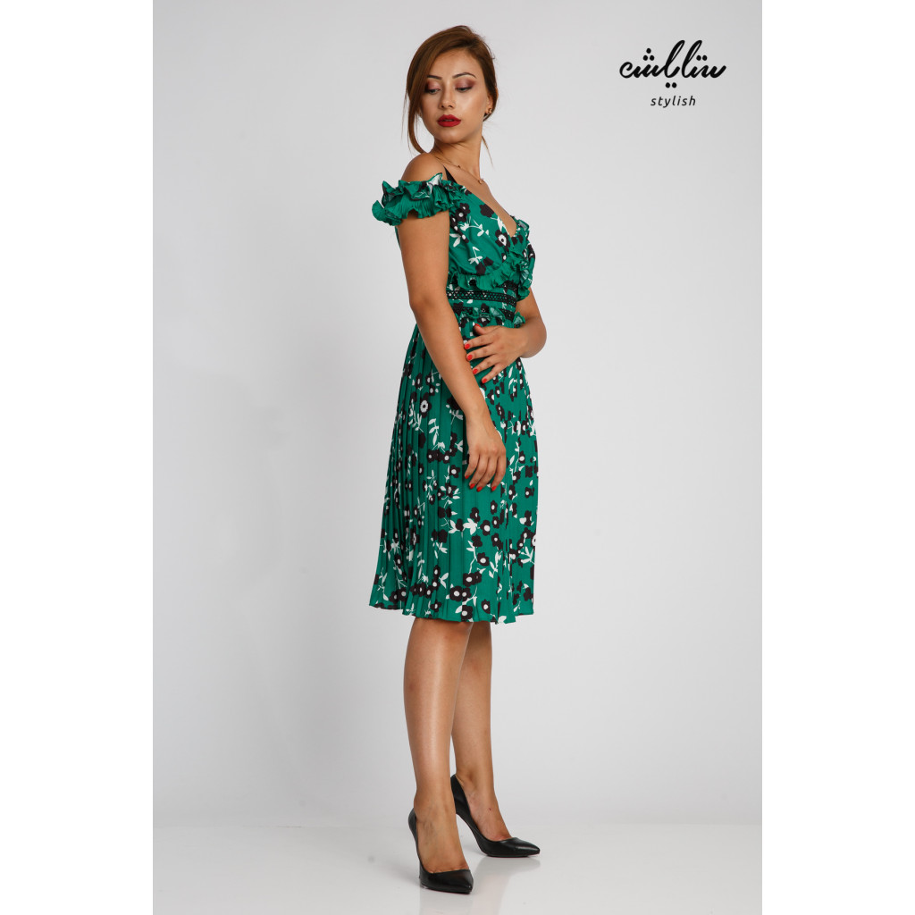 Short dress with soft feminine details in wooded green with exposed shoulders