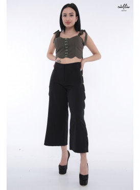 Hi West midi pants in black with open side buttons crisp attractive
