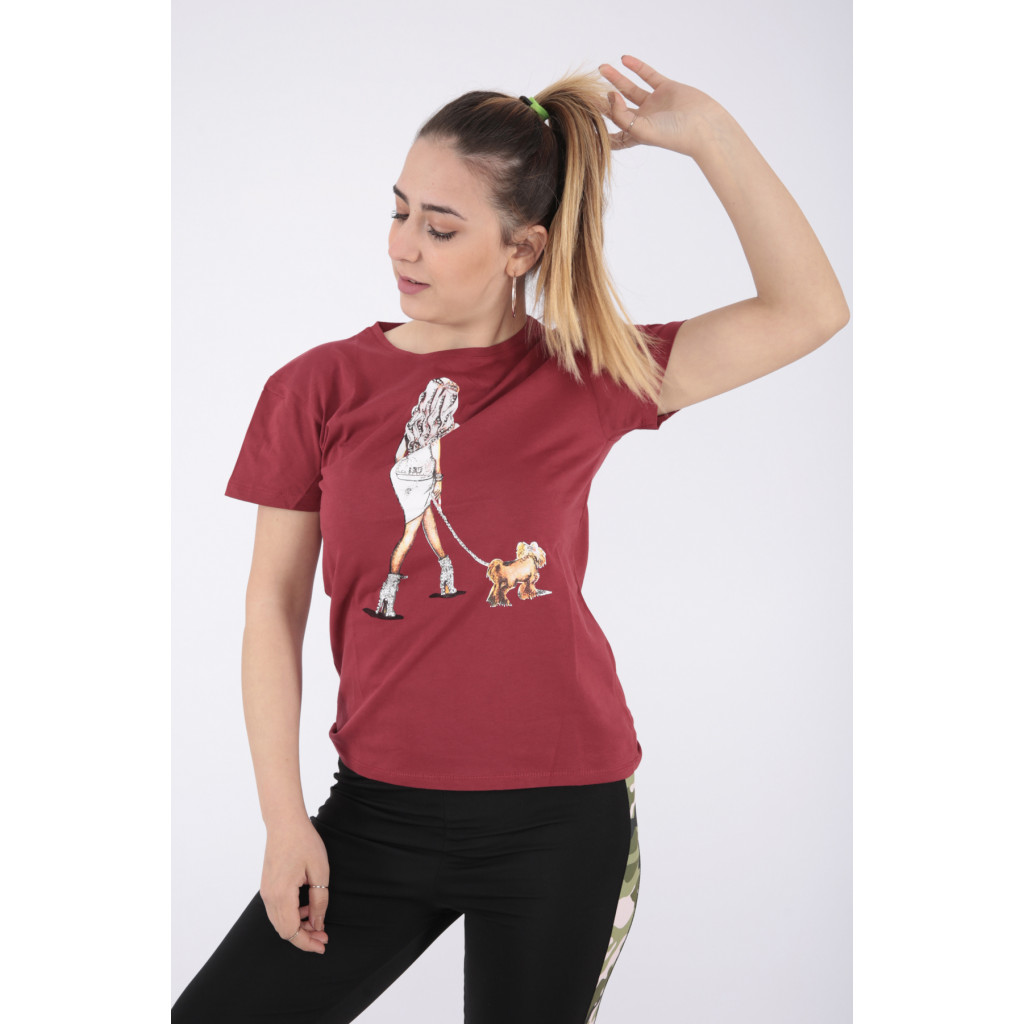 Elegant suede T-shirt with nice prints and a touch of soft crystal