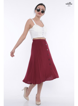 Elegant suede wide-color midi skirt with buttons that give an appealing look