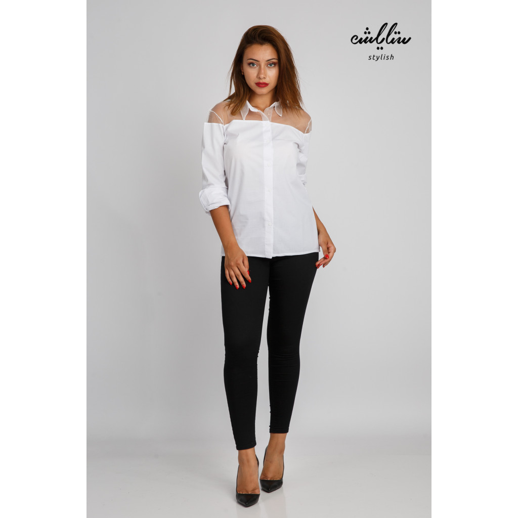 Soft white blouse with transparent shoulders and high collar