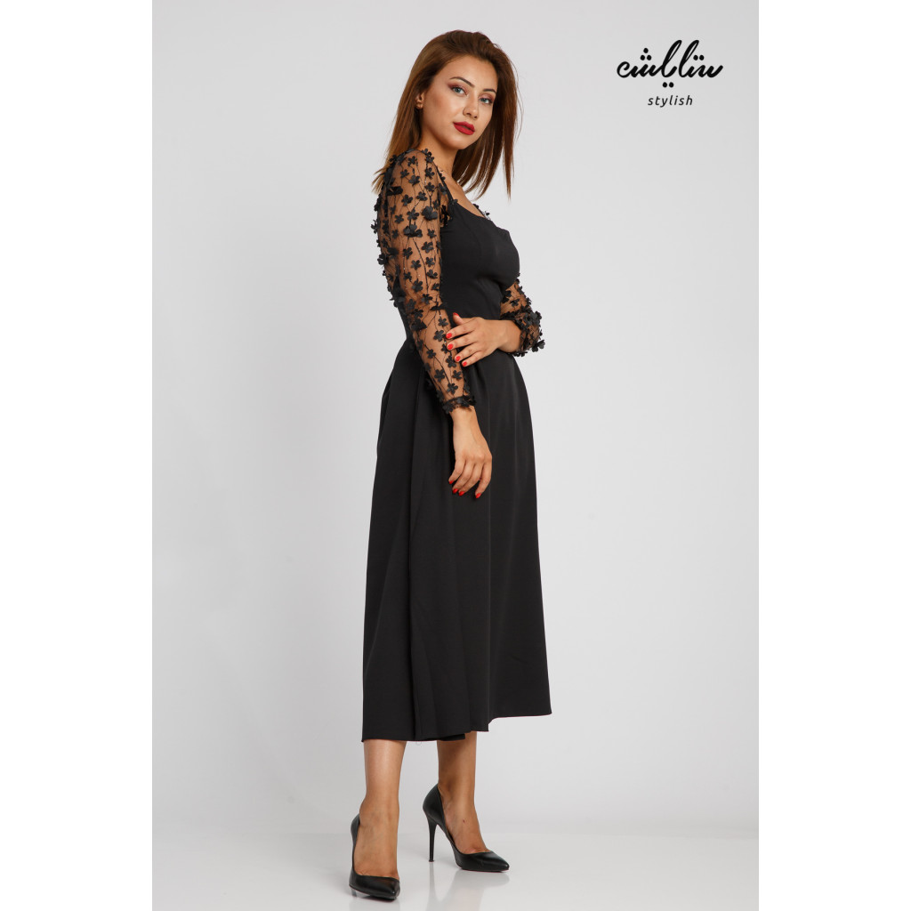 Midi dress blends softness and black gravity with square bodice and lace sleeves