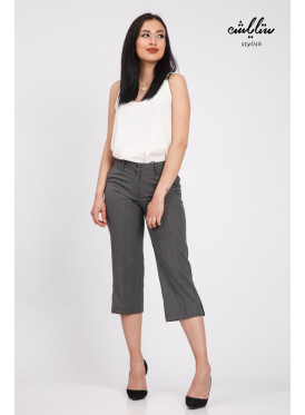 Sleek, grey, wide-crisp, attractive midi pants