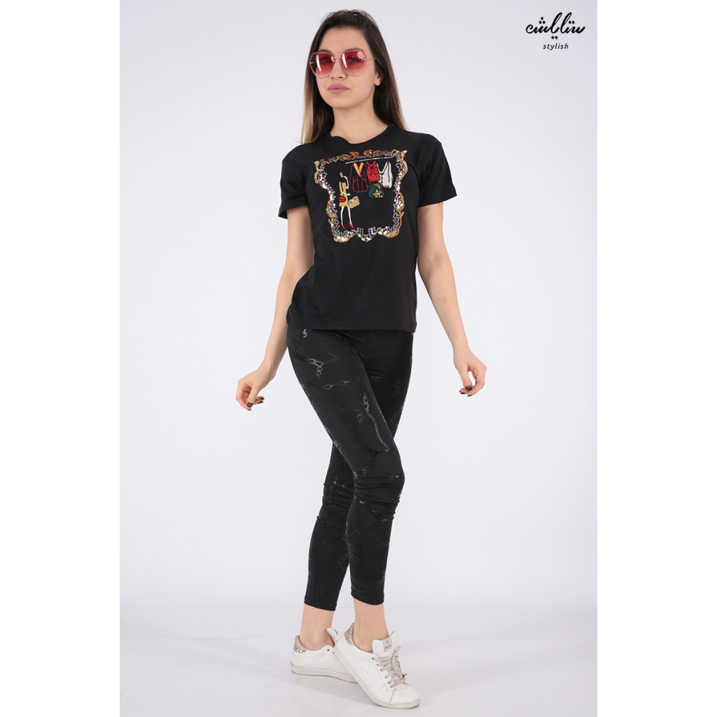 Designer T-shirt in black in elegant prints with a touch of sequins