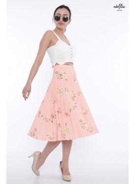 Belessey skirt Soft midi breaks in pink with elegant crisp rose prints
