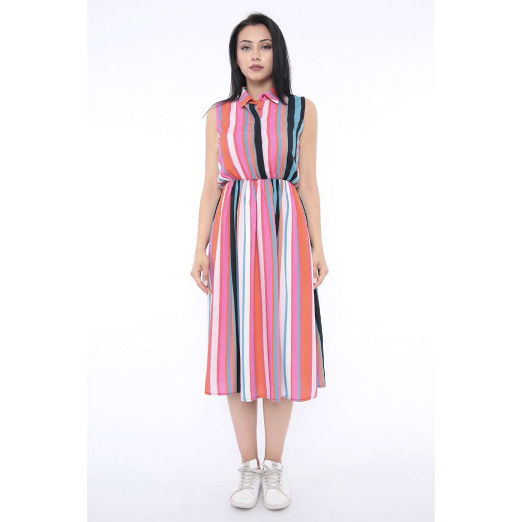 Stylish dress in harmonious color midi without sleeves crisp soft