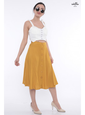 Elegant midi skirt with a wide color style