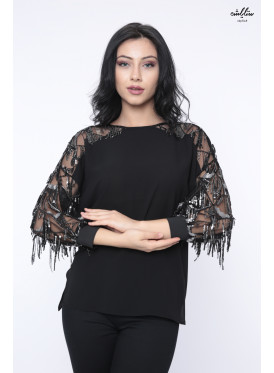 Designer black blouse decorated with beads in sleeves