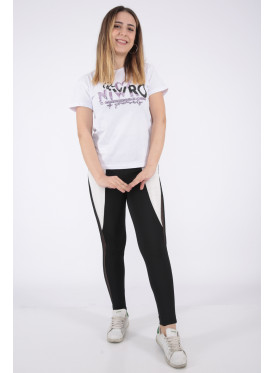 Elegant white T-shirt with sequin writing