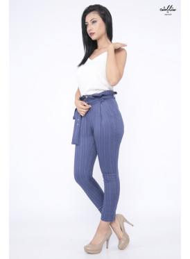 Elegant blue high-west striped and stylish belt for attractive view
