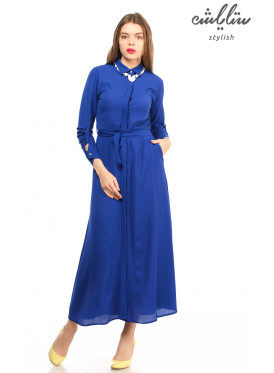 Maxi Dress, Collar Blue Belt Pillow Medium Sleeves Beautiful Design