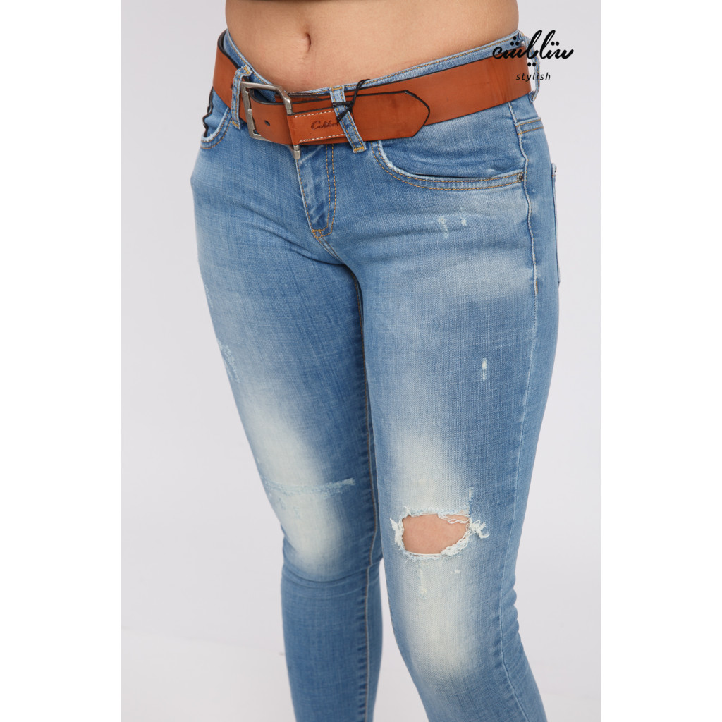 Stylish jeans decorated with leather strap