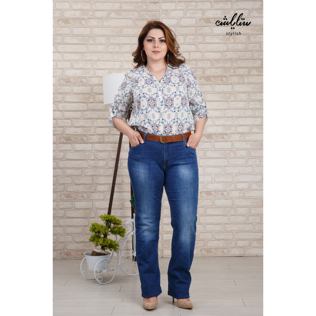 Stylish designer jeans with leather strap