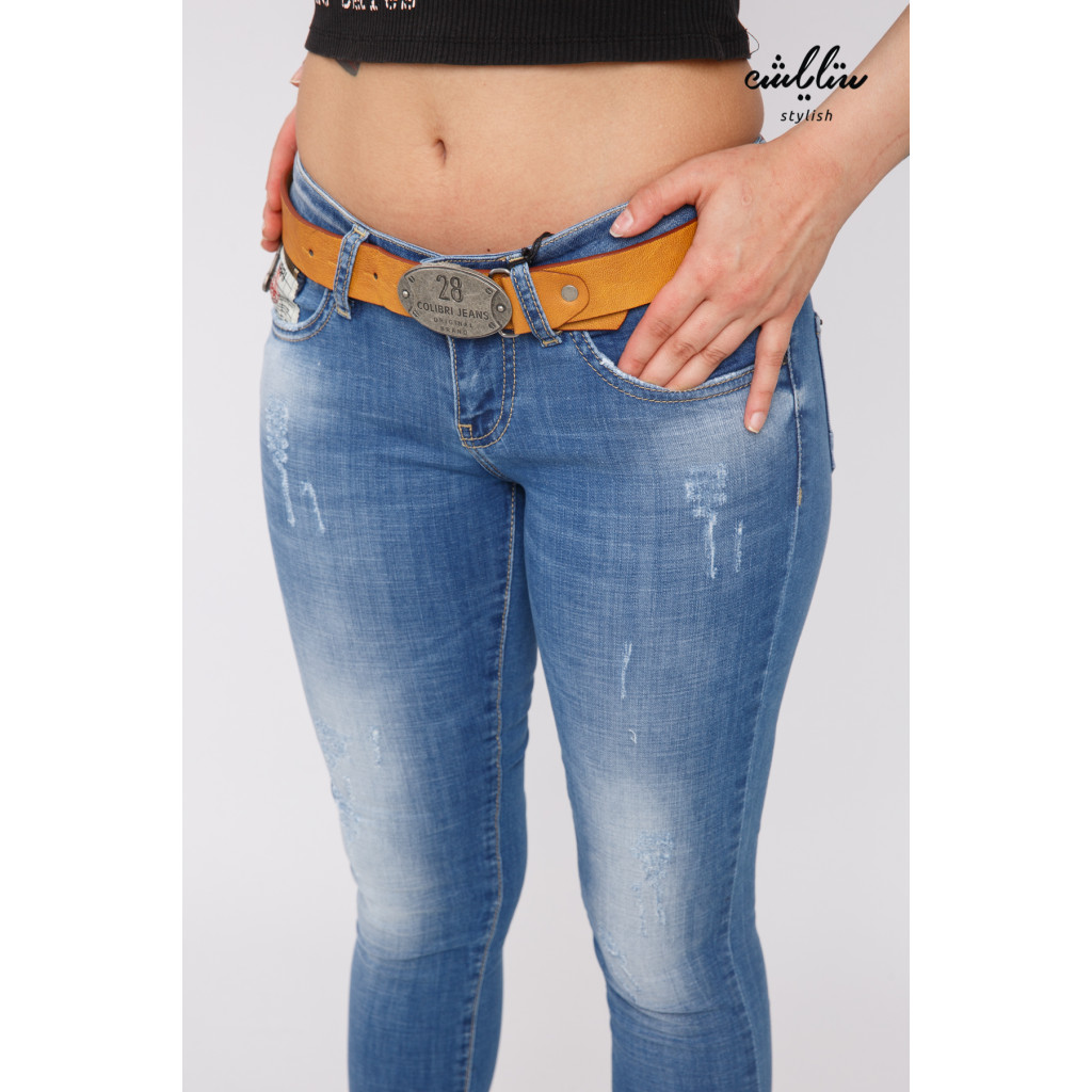 Soft jeans decorated with a beautiful crisp strap