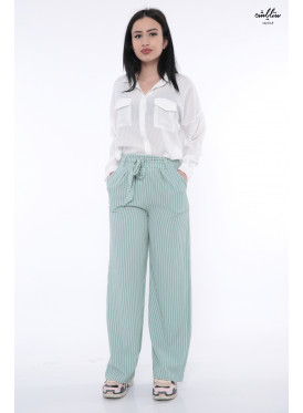 High West loose long green striped pants leaves a soft look