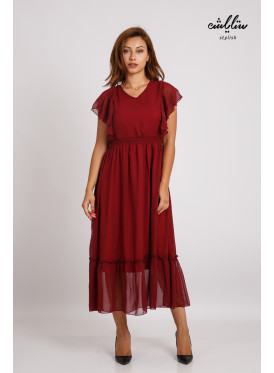 Short-sleeved red deer blood suede maxi dress and soft and elegant design