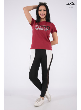 Elegant red T-shirt with sequin writing