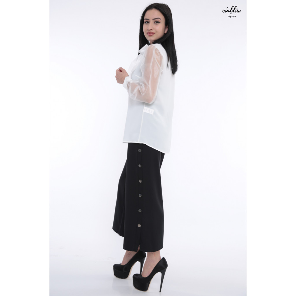 Elegant white blouse with high collar with transparent sleeves