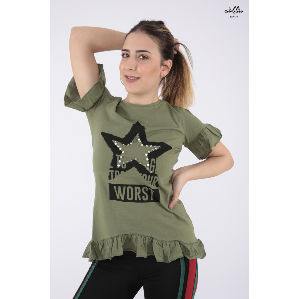 Elegant oil T-shirt with nice prints and ruffles from the sides