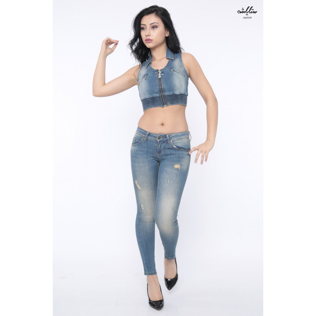 Top of the jeans with a rubber edge zipper on the chest crisp attractive