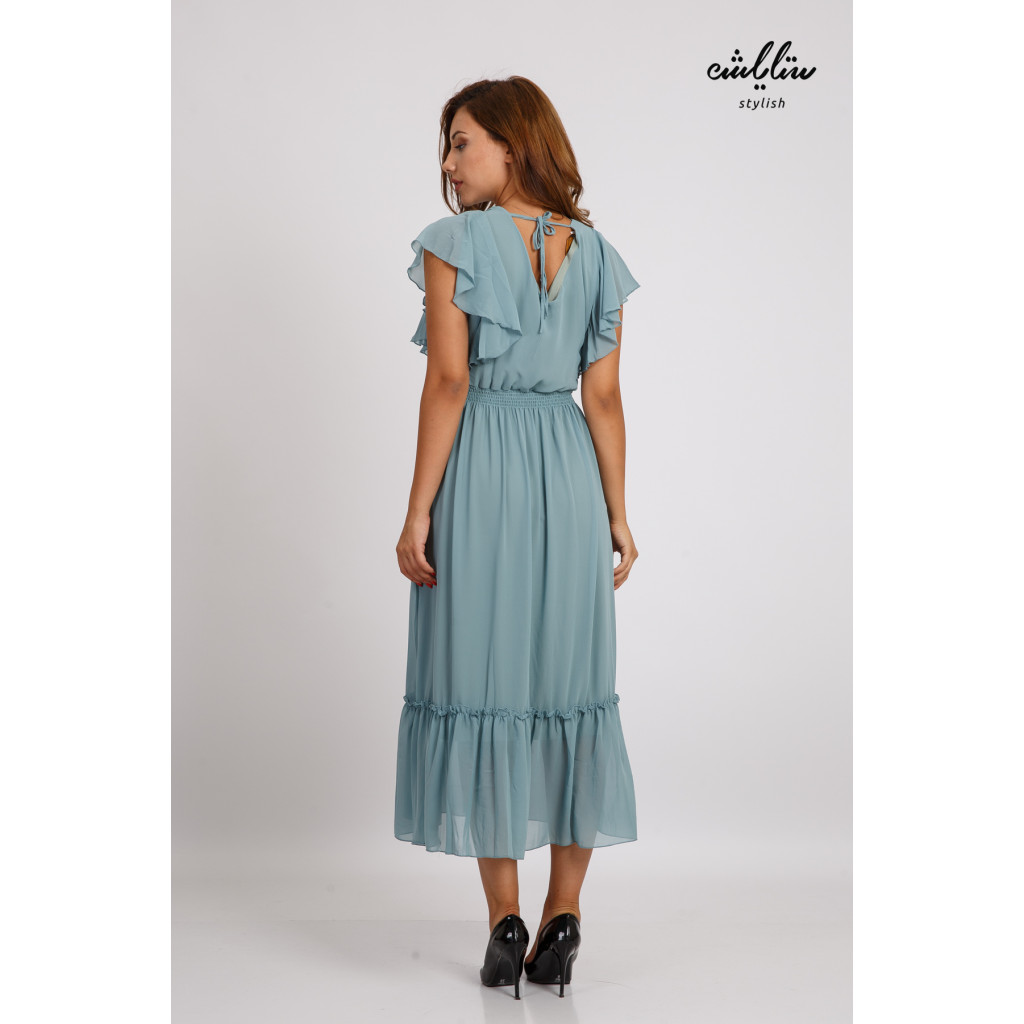 Sky maxi dress with short sleeves and a soft and elegant design
