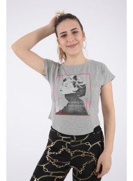 Trendy grey T-shirt with soft print decorated with crystal
