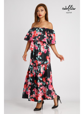 A black maxi dress off schulder decorated with rose prints for an attractive look