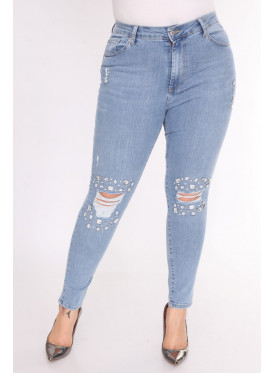 Stylish light jeans decorated with attractive pearls crisp