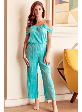 Elegant sky blue jumpsuit with open shoulders and luscious view