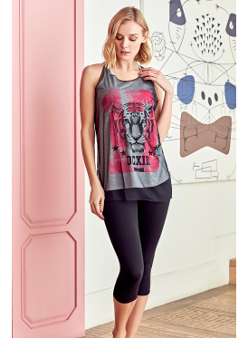 Black Lace set with two-piece blouse, including a mesh design with grey print and fuchsia painting with comfortable texture