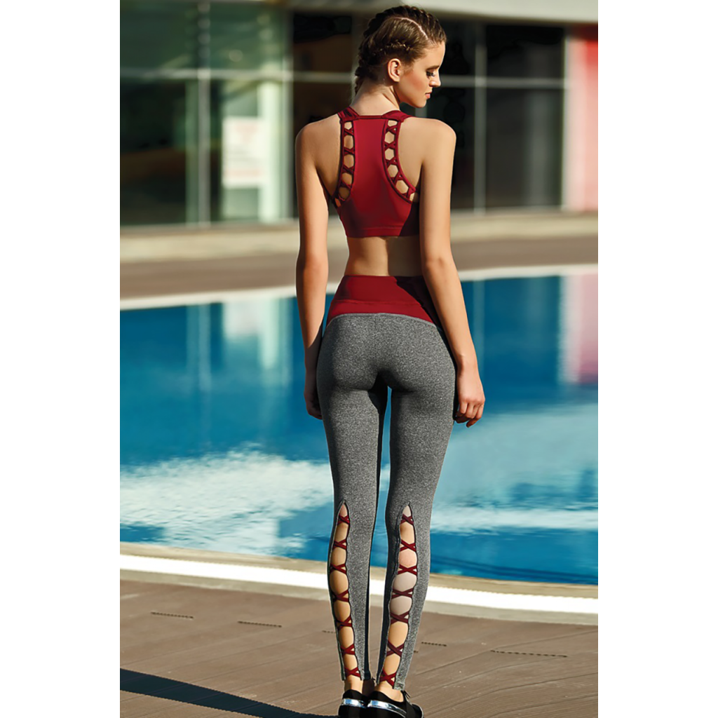 A stylish three-piece sporty, grey and red design set with a modern look