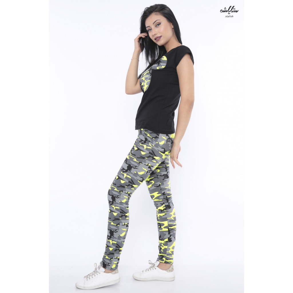 Elegant pajamas with an army design, a combination of grey and yellow and a top with a cartoon cut.