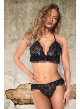 Elegant black lace underwear set